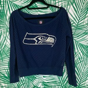 NFL Tops - NFL Seahawks mesh cropped off shoulder top size S